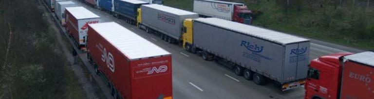 Operation Stack at Dover port, UK