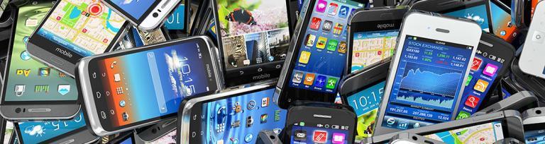 pile of smartphones